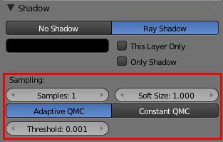 L'onglet Shadow permet de paramétrer les ombres