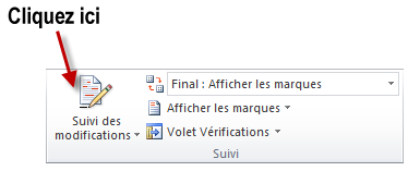 Activation du suivi des modifications
