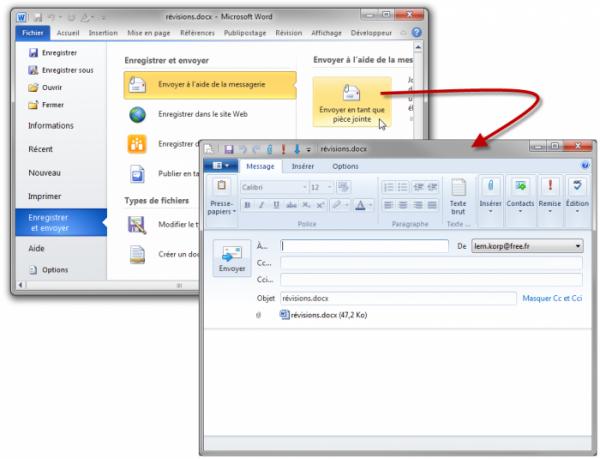 Envoi d'un document avec la messagerie