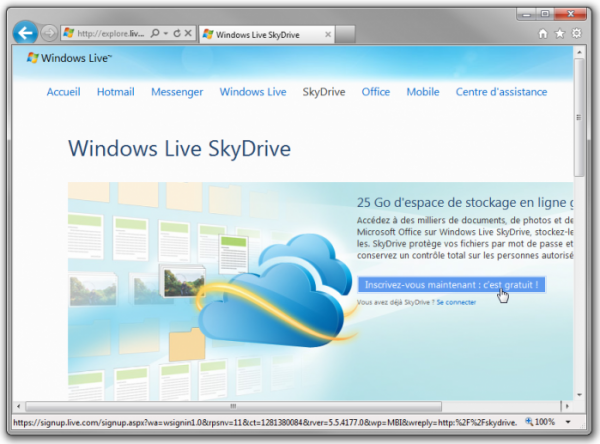 La page d'inscription de SkyDrive