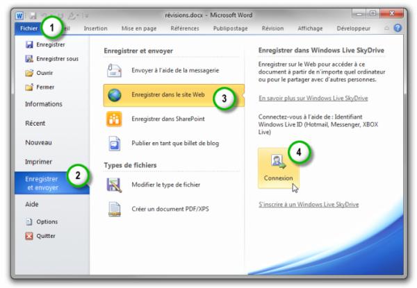 Le document est sur le point d'être sauvegardé dans l'espace SkyDrive