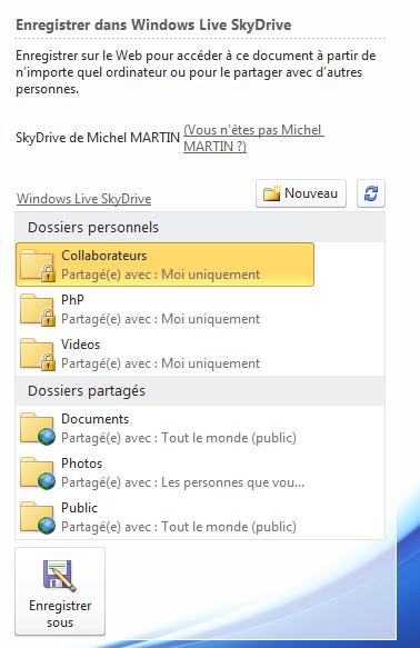 Les différents dossiers de l'espace SkyDrive sont directement accessibles