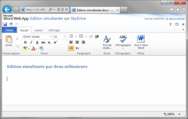 Le document peut être modifié dans le navigateur