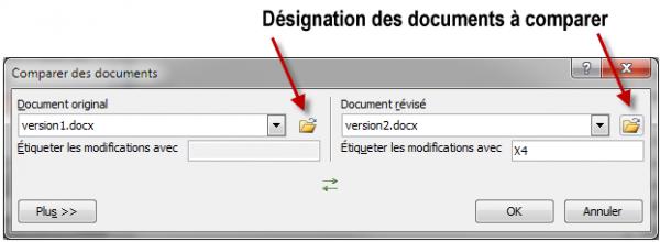 Deux versions d'un même document sont sur le point d'être comparées