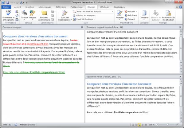 Comparaison des deux documents
