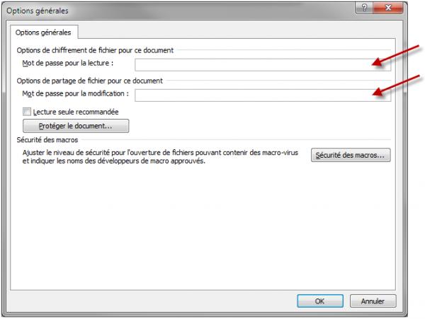 Un ou deux mots de passe peuvent être associés au document