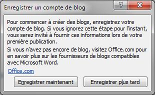 Vous devez indiquer à Word sur quel blog doit se faire la publication