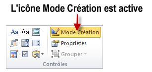 Selon sa couleur, cette icône indique si le mode création est activé ou désactivé