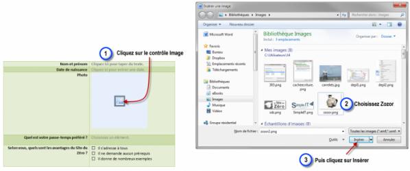 Insertion de l'image de Zozor dans le contrôle Image