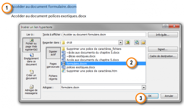 Définition d'un lien hypertexte qui pointe vers un document