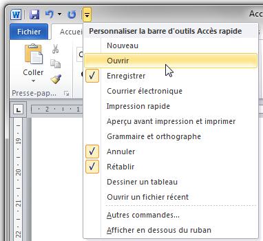 Toutes les fonctionnalités de Word peuvent être ajoutées dans la barre d'outils Accès rapide