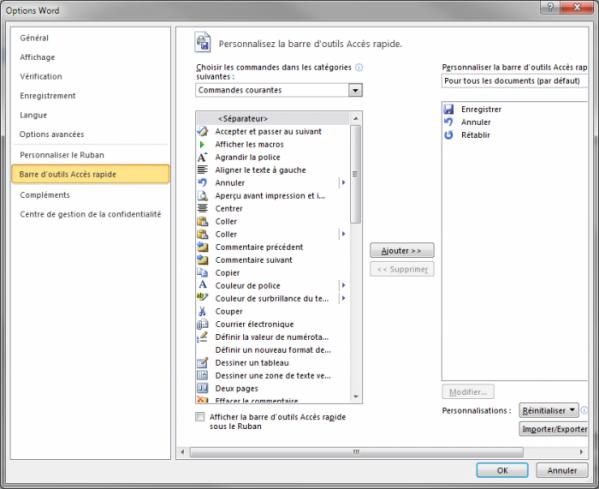 Insertion de la commande Capture dans la barre d'outils Accès rapide