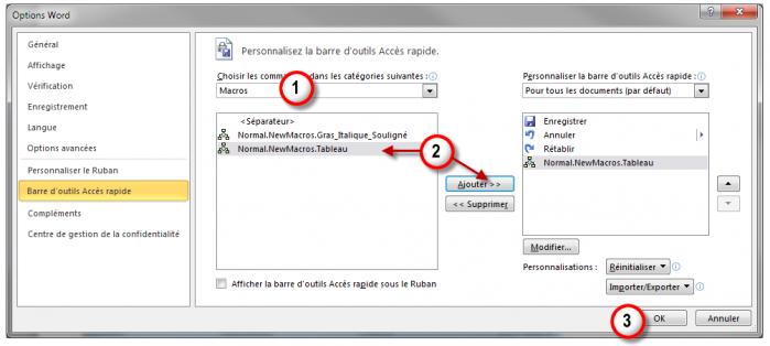 Ajouter une macro dans la barre d'outils Accès rapide