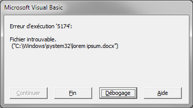 Le fichier spécifié est introuvable