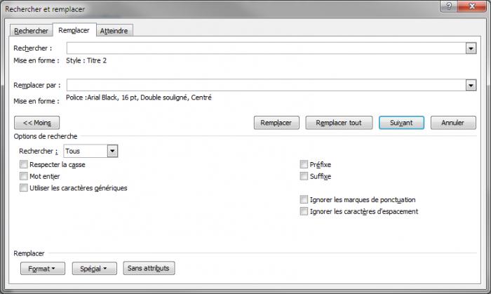 La boîte de dialogue Rechercher et remplacer est prête pour le remplacement des styles Titre 2