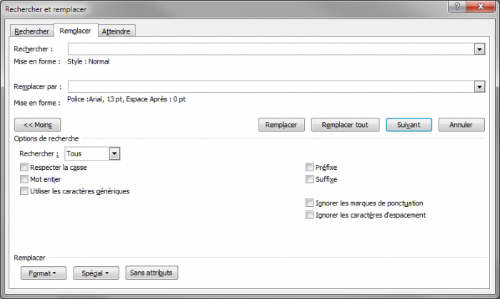 La boîte de dialogue Rechercher et remplacer est prête pour le remplacement des styles Normal