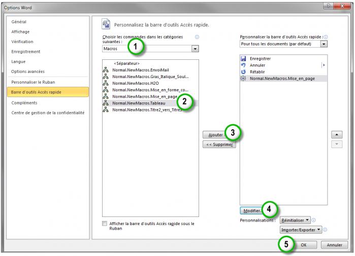 Définition d'une icône pour la macro dans la barre d'outils Accès rapide
