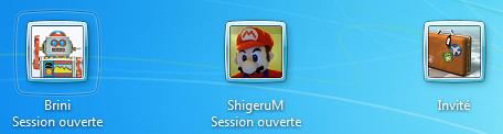 Compte Invité sur l'écran de choix de session