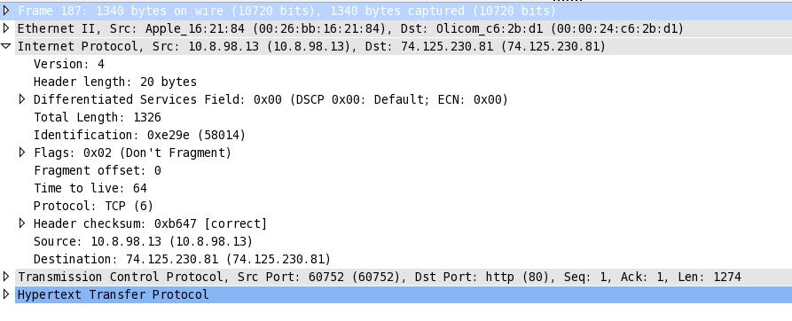 En-tête IP wireshark