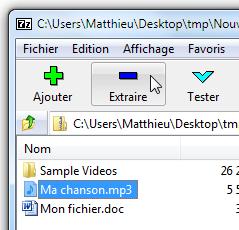 Choix du fichier à extraire