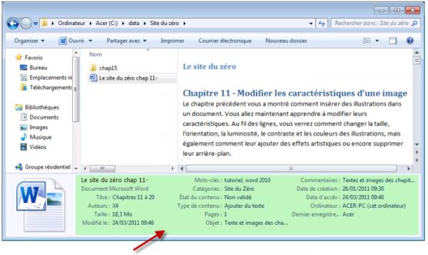 Les informations complémentaires sont affichées dans l'Explorateur Windows