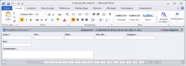 Le panneau de documents