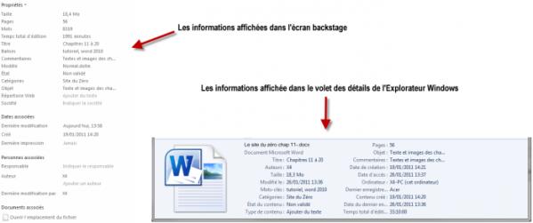 Les informations complémentaires, affichées dans l'écran backstage et dans l'Explorateur Windows