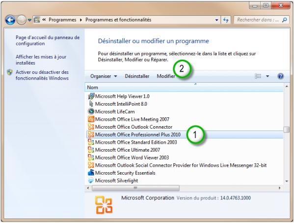 L'installation d'Office 2010 est sur le point d'être modifiée