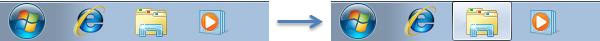 Changement d'état d'un bouton de la barre des tâches
