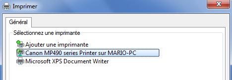 Sélection de l'imprimante
