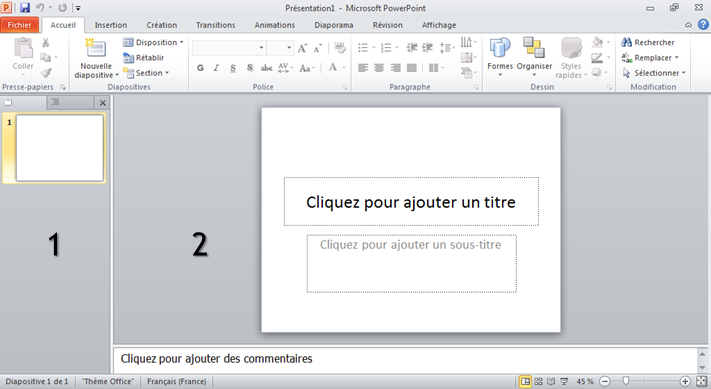 Interface de PowerPoint.