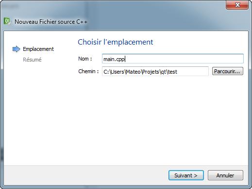 Ajout de fichier source (suite)