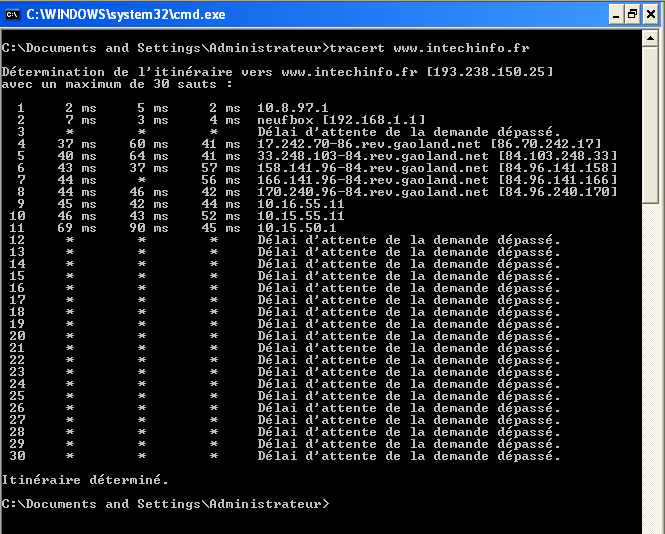 tracert www.intechinfo.fr