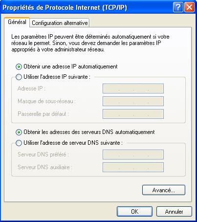 propriétés TCP/IP