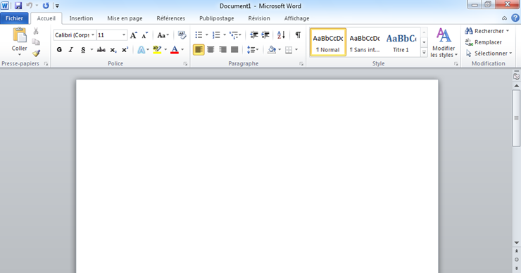 Interface de Word.