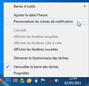 Personnaliser la zone de notification