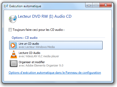 Lecture automatique d'un CD