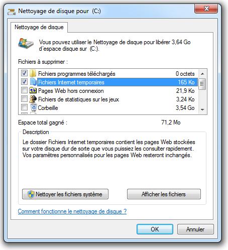 Choix des fichiers à nettoyer