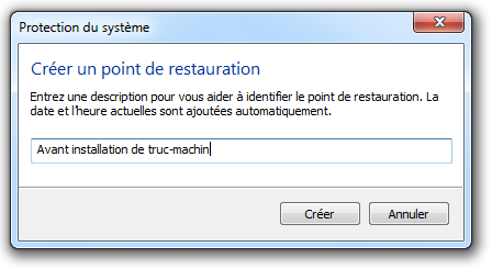 Donner un nom au point de restauration