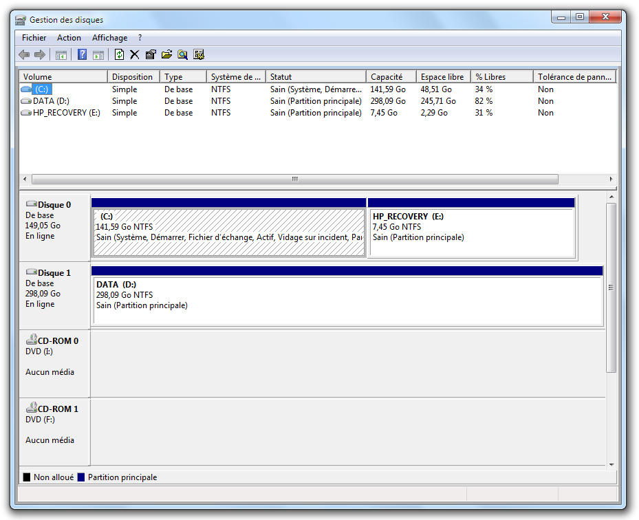 Partitionnement de disque dur d butez en informatique for Fenetre windows 7 outils