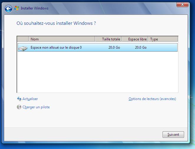 Choix de la partition sur laquelle installer le système