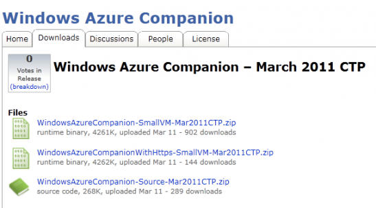 Téléchargement de Windows Azure Companion