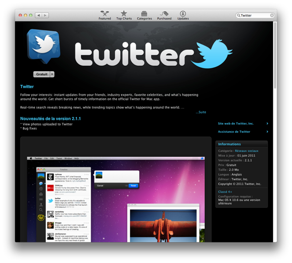L'application Twitter dans l'App Store