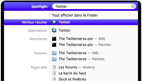 Recherche de l'application Twitter dans Spotlight