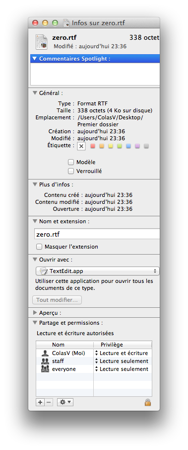 Les informations sur fichier texte (.rtf)