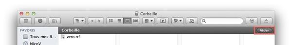 Vider la Corbeille via le Finder