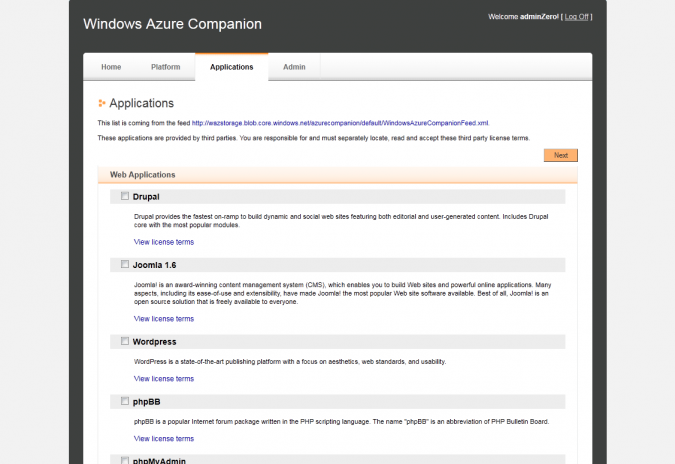 Interface d'administration - Windows Azure Companion