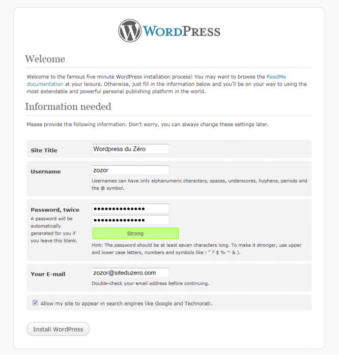 Configuration du blog Wordpress