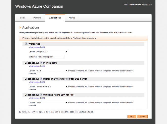 Dépendances de Wordpress dans Windows Azure Companion