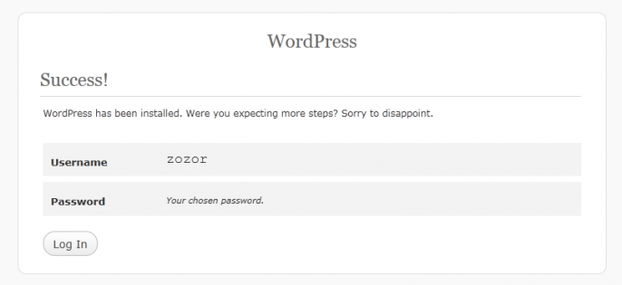 Fin de l'installation de Wordpress